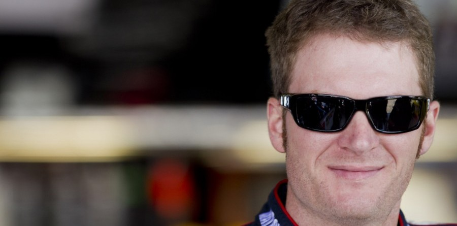Dale Earnhardt Jr. visits the media at Michigan