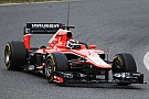 Marussia's Chilton had his first experience with wet weather tires in Barcelona