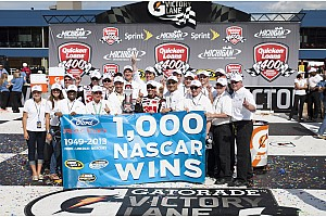 NASCAR Sprint Cup Breaking news Biffle gives Ford 1,000th NASCAR victory at Michigan International Speedway