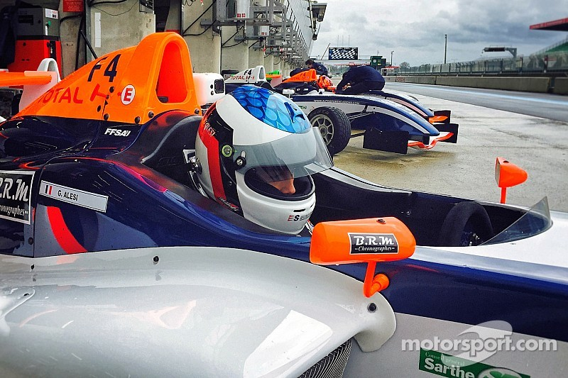 Alesi takes double pole on car racing debut