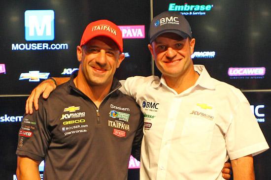 Tony Kanaan e Rubens Barrichelo, companheiros de equipe em 2012