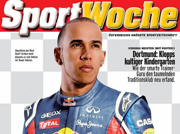 Hamilton com as cores da Red Bull: apenas montagem