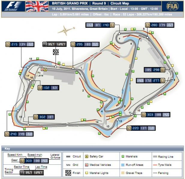 Mapa de Silverstone