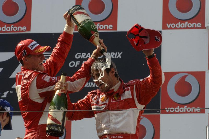 Massa em seu primeiro pódio na F-1, no GP da Europa de 2006, em Nurburgring