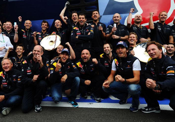 Vettel e Webber comemoram dobradinha na Bélgica