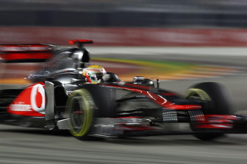 Hamilton durante o GP de Cingapura