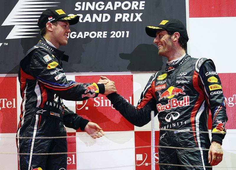Vettel e Webber no pódio do GP de Cingapura