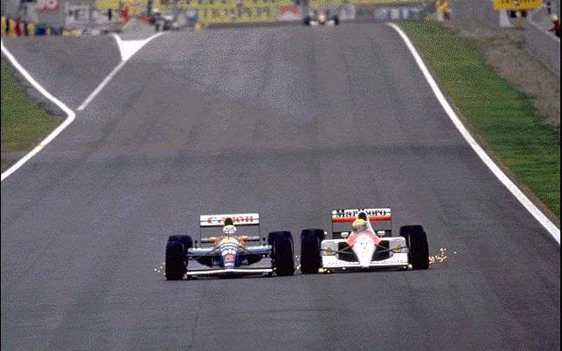 Nigel Mansell e Ayrton Senna roda a roda no GP da Espanha