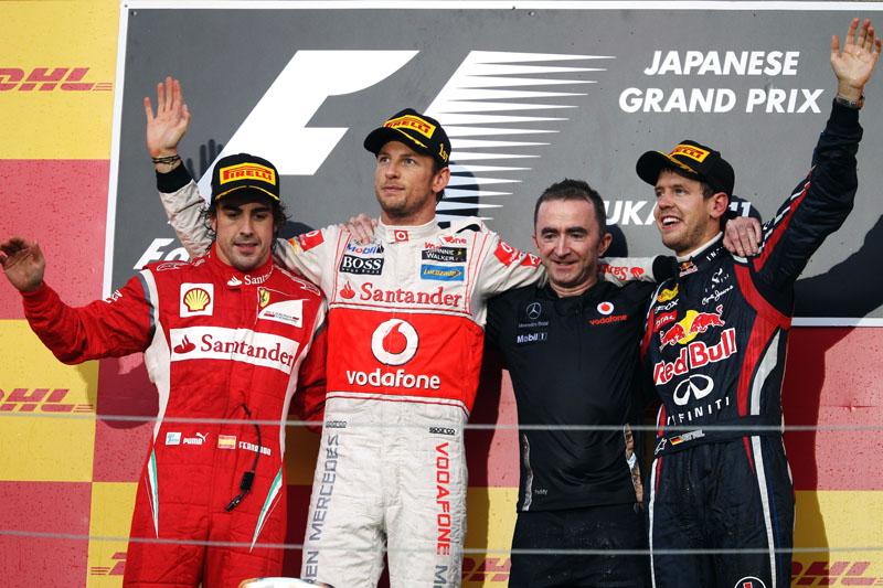 Alonso e Button no pódio com Vettel