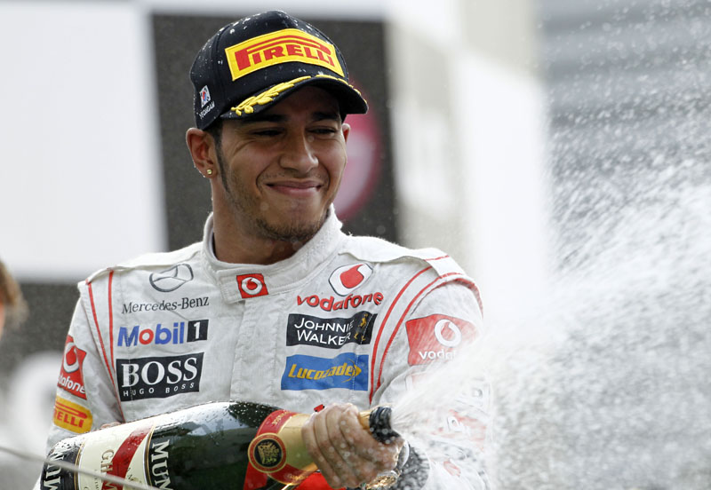 Hamilton comemora o primeiro pódio após o GP da Alemanha