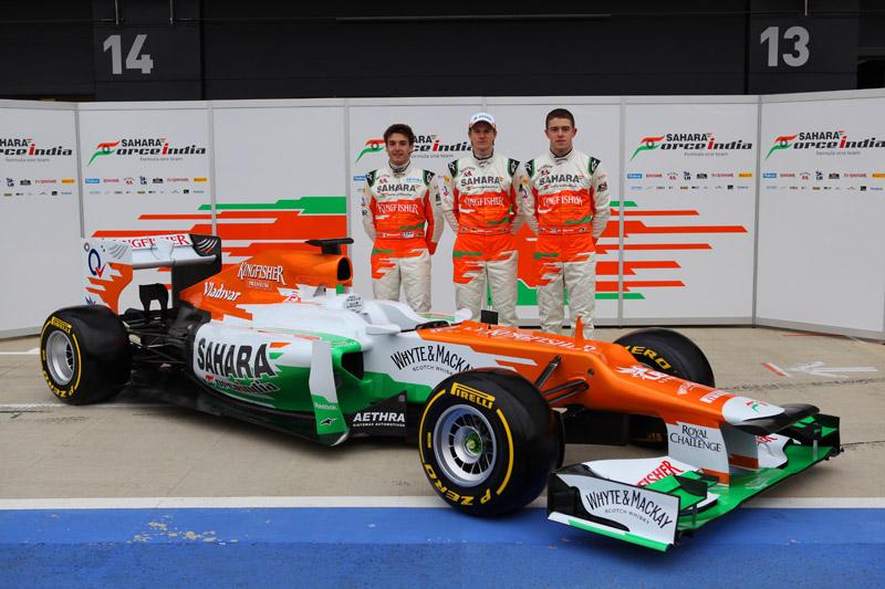 Hulkenberg, Di Resta e o reserva Jules Bianchi no lançamento do novo Force India