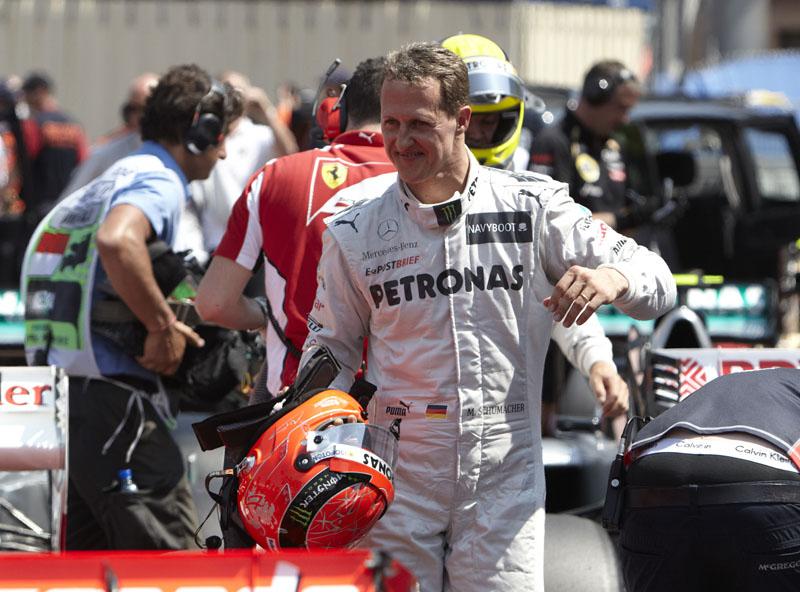 Schumacher comemorou o melhor tempo em Mônaco