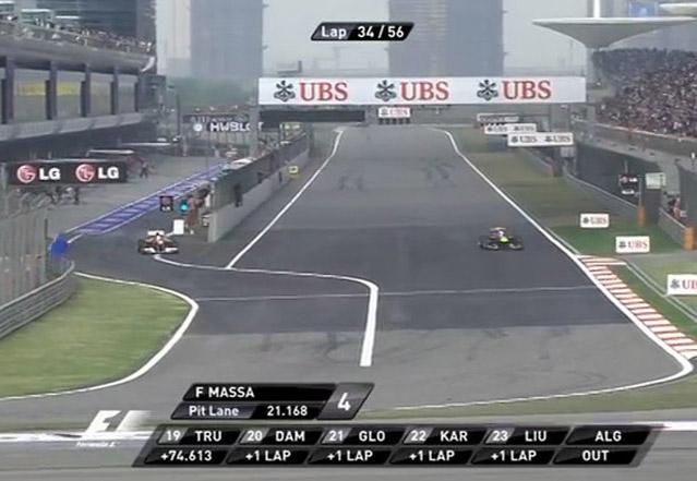 Massa cruzou a linha do pit em local permitido