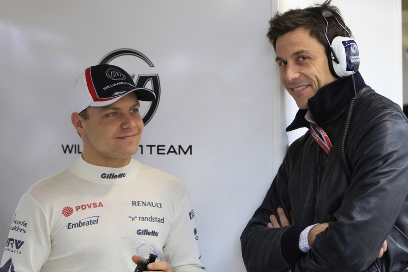 Toto Wolff e Valtteri Bottas no box da Williams