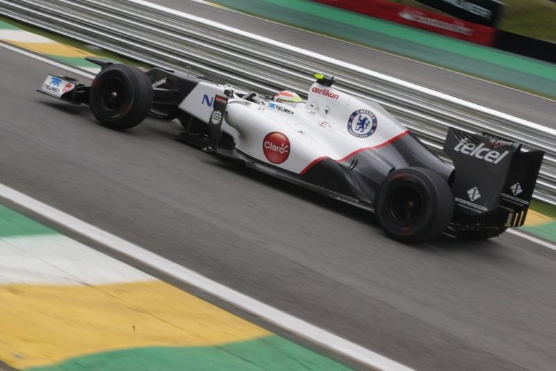 Pérez em sua última corrida pela Sauber, no Brasil