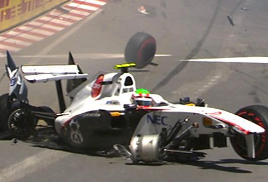 Perez, no momento do acidente