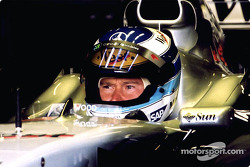 Mika Hakkinen in the garage