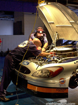 Rusty Wallaces crew work late into the night on the pole winning Ford.