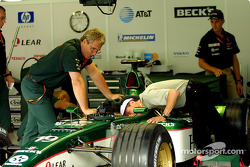 Roberto Moreno inspecting the Jaguar