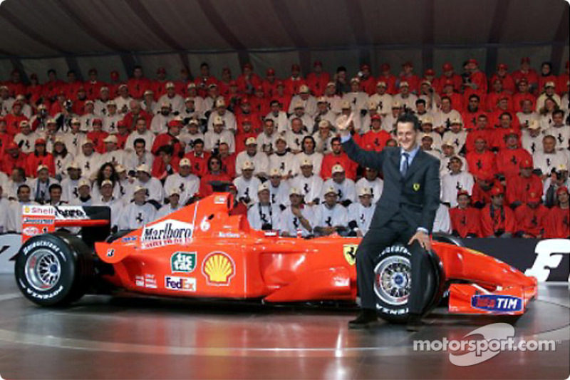 Schumi, celebrating with his number 1 car