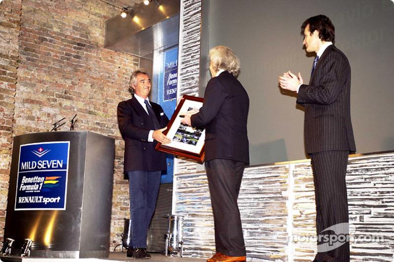 Flavio Briatore, Luciano Benetton and Alessandro Benetton at the B201 launch