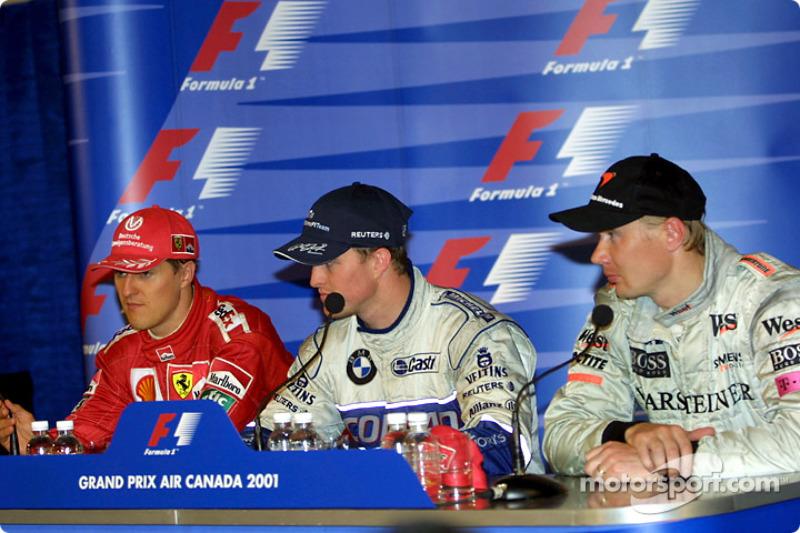 Press conference: Michael Schumacher, Ralf Schumacher and Mika Hakkinen