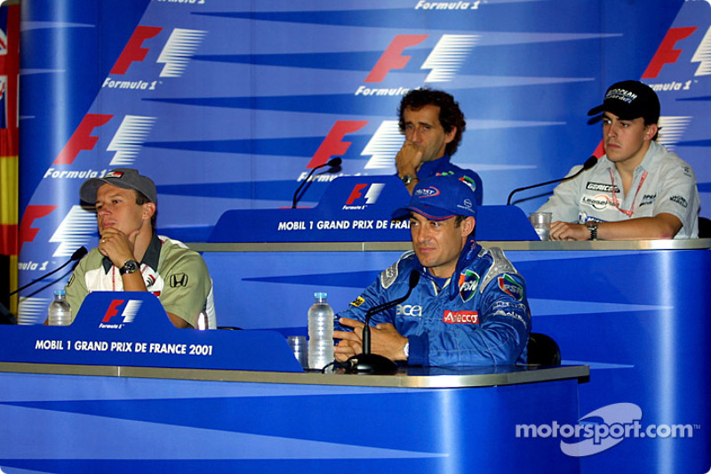 Press conference: Olivier Panis, Jean Alesi, Alain Prost and Fernando Alonso at French GP