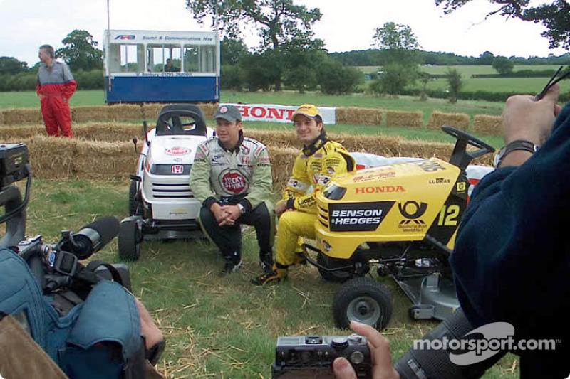 Honda lawnmower race: Jarno Trulli and Olivier Panis