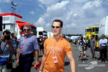 Michael Schumacher in the paddock