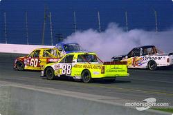 Trucks avoiding Ricky Hendrick