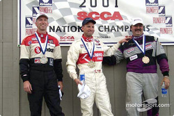 Race 6, Showroom Stock C podium: National Champion David Roush, 2nd John Fernandez, 3rd Bob Beede