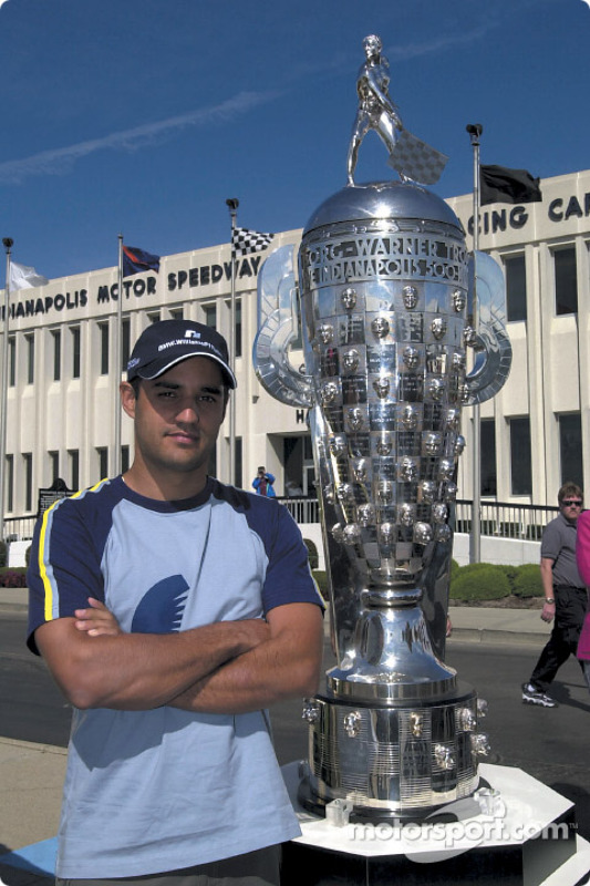 Juan Pablo Montoya and the Borg Warner Trophy