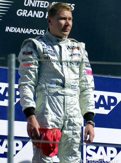 Mika Hakkinen on the podium