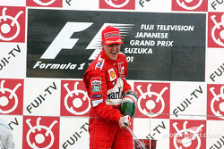 Michael Schumacher celebrating on the podium
