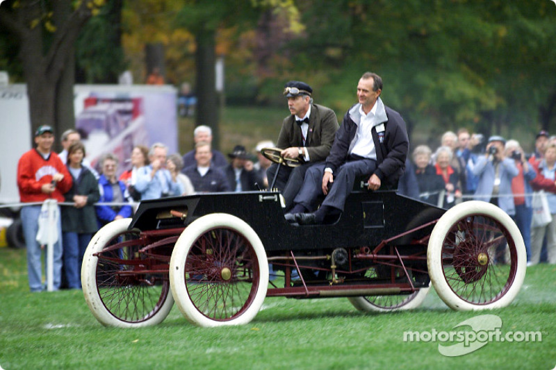 Ford's Glenn Miller and drag racing great Bob Glidden raced a replica of Henry Ford's 1901 Sweepstakes race car