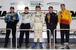 Grand-Am season points champions: Doug Goad, Craig Conway, James Weaver, Andy Lally, Darren Law pose in Daytona's Victory Lane