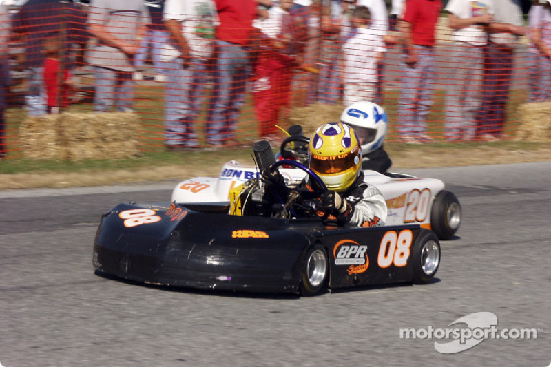 #08-'Awesome' Austin Hubbard leads #20-Tony Marinucci down the front straight in Briggs Junior Sportsman-1