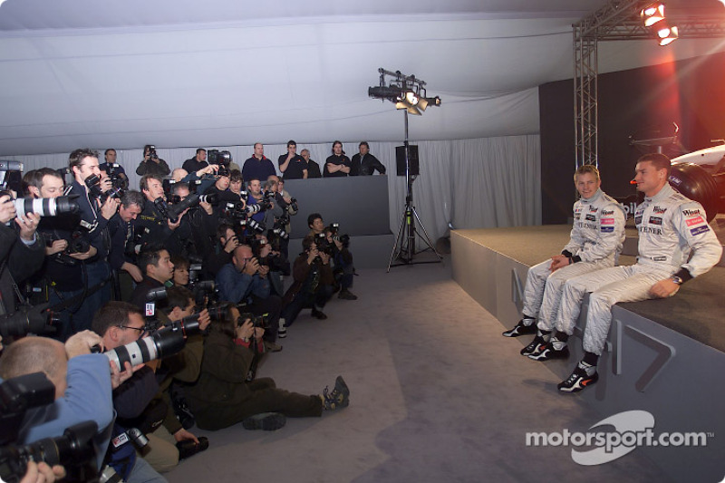 Kimi Raikkonen and David Coulthard in front of more than 300 media representatives attending the presentation