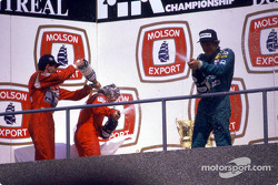 The podium: race winner Ayrton Senna, Alain Prost and Thierry Boutsen