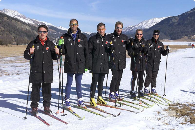 The Audi works drivers Christian Pescatori, Emanuele Pirro, Tom Kristensen, Frank Biela, Johnny Herbert and Rinaldo Capello during cross country skiing
