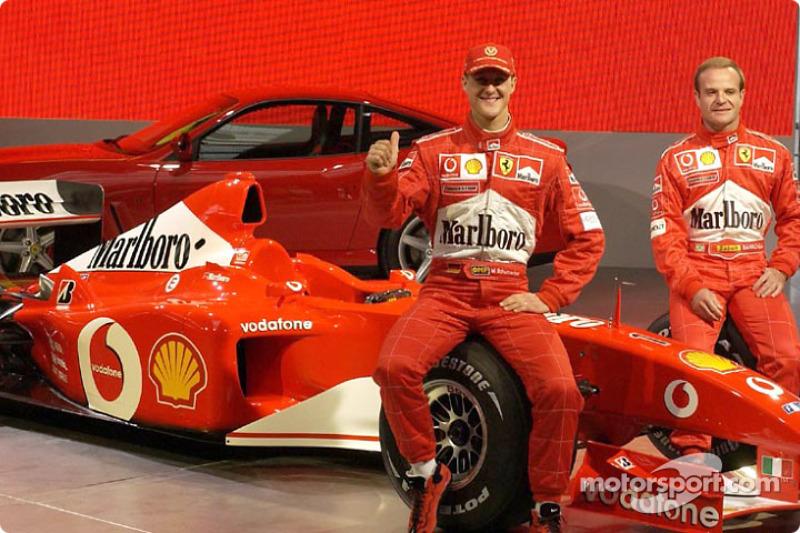 Michael Schumacher and Rubens Barrichello with the new Ferrari F2002