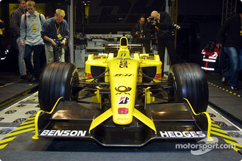 The new Jordan Honda EJ12 in the DHL aircraft hangar at the Brussels airport