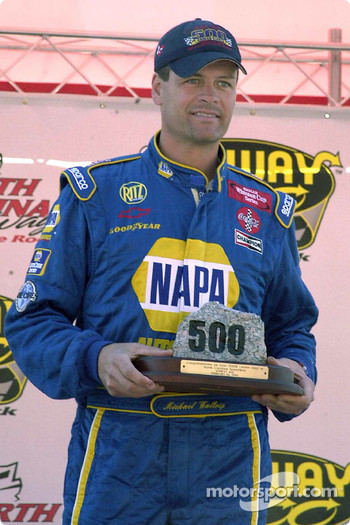 Michael Waltrip was given a piece of The Rock by the president of North Carolina Speedway in honor of his 500th career start