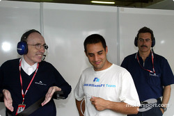 Frank Williams, Juan Pablo Montoya and Dr. Mario Theissen