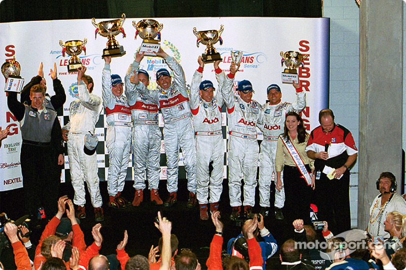 Race winners Christian Pescatori, Johnny Herbert and Rinaldo Capello with second place team of Andy Wallace, Stefan Johansson and Jan Lammers