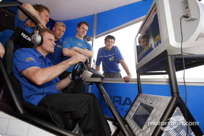 Tommi Makinen testing his skills at the WRC game on Playstation