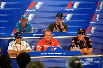Thursday press conference: Felipe Massa, Rubens Barrichello and Enrique Bernoldi at the front, and Jenson Button and Ralf Schumacher at the back