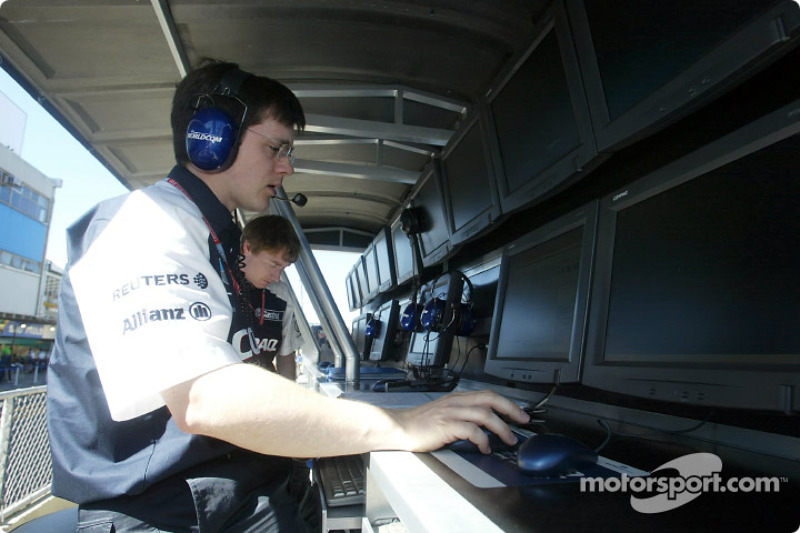 Team Williams-BMW pitwall on Sunday morning