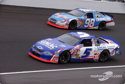 Ron Hornaday (5) and Kasey Kahne (98) running the warm up laps