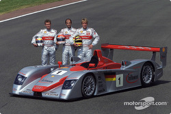 The driver team of the Infineon Audi R8 #1: Tom Kristensen, Emanuele Pirro, Frank Biela